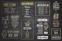 Drinks And Cocktails Menu Chalkboard Set, Hand Drawn Posters For Tea, Coffee, Spirits Cocktails, Shots, Bombs, Craft Beers And Lokal Wine