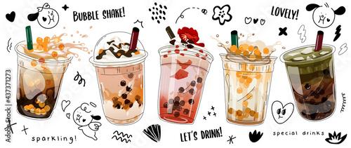 Canvastavla Bubble milk tea adswith cute doodle decoration