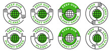 Set Of Conceptual Environmental Stamps, Logos. Human Nature Conservation Symbol. A Call To Keep Our Planet Green. Vector Elements.