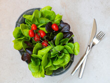 Various Types Of Salad With A Vase Of Tomatoes. The Concept Of Healthy Food.