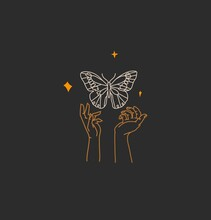 Hand Drawn Vector Abstract Stock Flat Graphic Illustration With Logo Element,bohemian Magic Art Of Butterfly And Stars In Witch Woman Hand,simple Style For Branding,isolated On Black Background