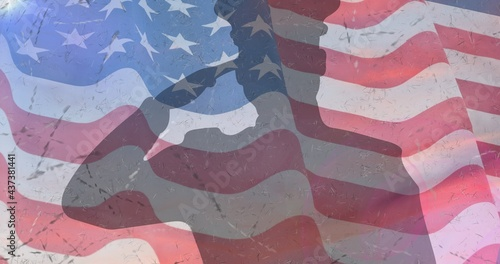 Composition of male soldier silhouette saluting over american flag