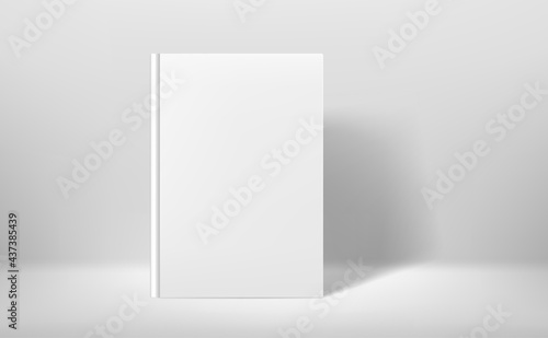 White book in white interior. 3d style realistic vector mock up