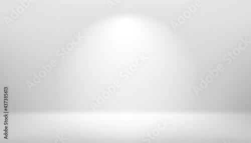 Fotografia Bright white interior scene with light beam