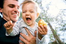Smiling Dad Holds In Front Of Him A Laughing Child With A Pear In His Hand Against A Background Of Wood. Close-up. Low Angle