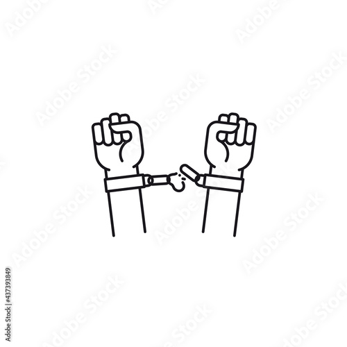 Canvas Print Hands freeing themselves from shackles vector line icon