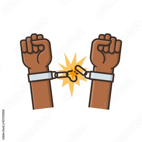 Canvas Print Hands freeing themselves from shackles isolated vector illustration Internationa