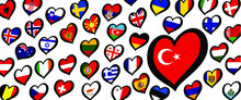 Turkey, Turkish Flag And Different Countries Flags With Heart Flags Logo. For Europe, Eurovision Music Song Festival, Contest. Music Songs For Vision Dreams. Vector Pattern.