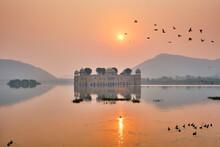 Tranquil Morning At Jal Mahal Water Palace At Sunrise In Jaipur. Rajasthan, India
