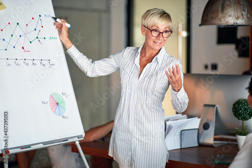 An elderly cheerful business woman is explaining the graph on the panel during presentation at workplace. Business, office, job #437395013