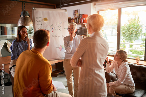 Group of business colleagues is carefully listening to a presentation at workplace. Business, office, job #437395667