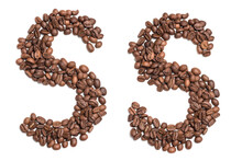 """The Letter """" S """" Of The Latin Alphabet, Laid Out From Coffee Beans. Isolate On A White Background. Brown Coffee."""