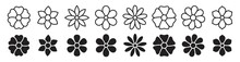 Flower Icon Set, Flower Collection Isolated On White Background, Vector Illustration