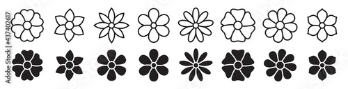 Fotografie, Obraz Flower icon set, Flower collection isolated on white background, vector illustra