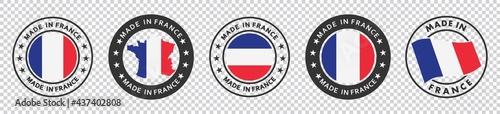 Fotografia set of made in the france labels, made in the france logo,  france flag , france product emblem, Vector illustration
