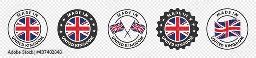 Fotografie, Tablou set of made in the united kingdom labels, made in the britain logo,  united kingdom flag , england product emblem, Vector illustration
