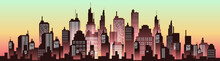 Urban Silhouette Panoramas In Evening Sunset. Vector Cityscape Illustration.