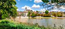 Panorama Of The Lower Lake With View To The City In Böblingen, Germany