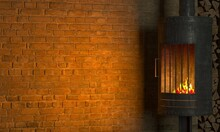 Loft Interior Background Fireplace On Old Brick Wall