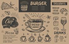 Restaurant Menu, Template Design.. Food Flyer. Hand-drawn Style. Vector Illustration.