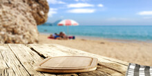Wooden Desk Of Free Space For Your Decoration And Summer Landscape Of Beach