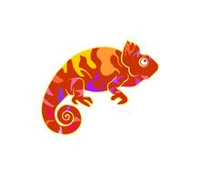 Chameleon Logo Vector, Isolated On White