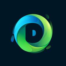Eco-friendly D Letter Logo Inside A Swirl Green Circle.