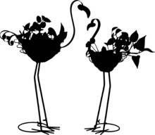 Silhouette Of Flamingo Garden Bird With Basket. Two Metal Black Flamingo Garden Decoration Vector