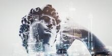 Statue Vapor Wave Background Concept