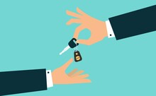Hand Giving Car Keys With Chain. Vector