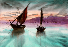 Watercolor Picture Of Sailing Boats In The Sea In Evening With Faraway City In The Background