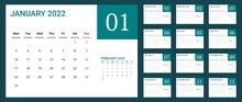 2022 Calendar With Simple Design. Vector Of Calender 2022.corporate Desk Calendar Ready To Print. Week Start On Monday. Sunday As Weekend. Good For Daily Log, Business, Timetable, Planner, Etc.