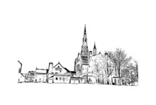 Building View With Landmark Of Fort Wayne Is A City In Northeastern Indiana. Hand Drawn Sketch Illustration In Vector.