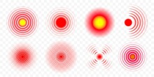 Pain Red Circle Vector Medical Icons Set