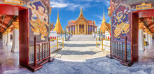 Wat Phra Kaew, Temple Of The Emerald Buddha With Blue Sky, Thailand