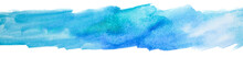 Watercolor Element Texture On White Background. Blue Stripe Background.