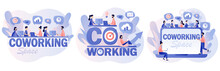 Co-working Space. Tiny People Working On Laptops, Computers, Smartphones On Shared Modern Office Workplace. Business Meeting. Shared Working Environment. Modern Flat Cartoon Style. Vector Illustration