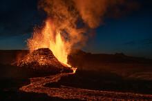 Reykjanes Peninsula, Iceland - May 4th 2021: Geldingadalir Eruption And Lava Spray