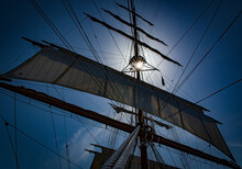 Looking Up Into Rigging Of Tall Ship Sea Cloud