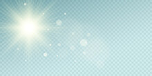 Sunburst Effect Isolated On Blue Transparent Background. Clear Sunbeams With Glare. Summer Sun With Abstract Lights Bokeh. Light Effect. Vector Illustration.