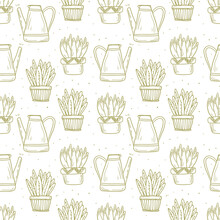 Seamless Pattern House Plants In Doodle Style. Funny Succulents With Large Leaves In Clay And Ceramic Pots. Decoration Of Background Or Wrapping Paper In Line Art Style On The Theme Of Plant Growing.
