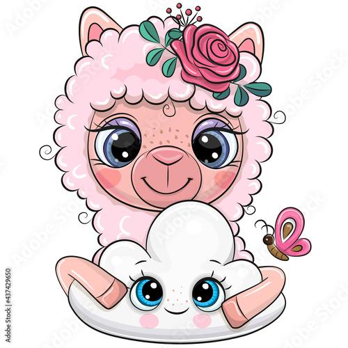 Fototapeta premium Cartoon Pink Alpaca with a flowers and cloud