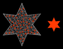 Flare Mesh Six Pointed Star With Lightspots. Linear Frame 2D Network Generated With Crossing White Lines And Six Pointed Star Icon.