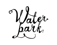 WATER PARK. Word Written Of Calligraphic Letters
