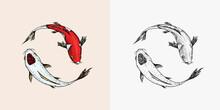 Koi Carp, Japanese Fish. Korean Animal. Engraved Hand Drawn Line Art Vintage Tattoo Monochrome Sketch For Poster Or Label.