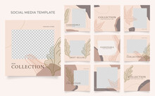 Social Media Template Blog Fashion Sale Promotion. Fully Editable Instagram And Facebook Square Post Frame Organic Sale Poster. Brown Khaki White Ad Banner Vector Background