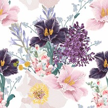 Seamless Floral Pattern With Multi-colored Tulip Flowers, Leaves And Wild Flowers On A White Background. Hand Drawn, High Realistic,spring Flowers For Fabric, Prints, Decoration, Invitation Cards.