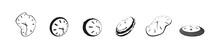 Clock Icon Set In Liquid Deformed Grunge Line Dali Style, Collection Vector Illustration, Melting Clocks Distorted Shape.