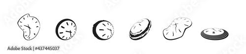 Fotografia, Obraz Clock icon set in liquid deformed grunge line Dali style, collection vector illustration, melting clocks distorted shape