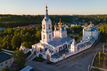 Aerial View Of Old Monastery For Men In Russia, Perm City In Summer Sunny Day With Golden Dome